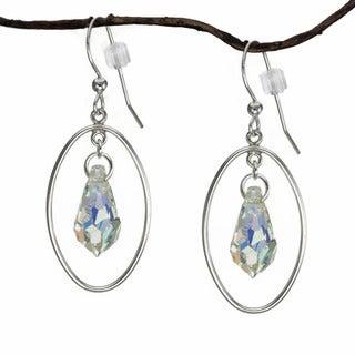 Jewelry by Dawn Oval Hoop Crystal Sterling Silver Earrings