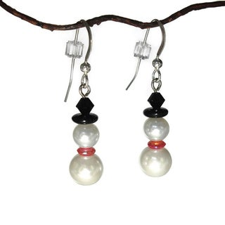 Glass Pearl Snowman Earrings