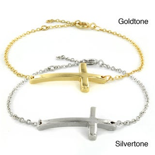 ELYA Silvertone and Goldtone Inspiriational Sideways Cross Cable Chain Bracelet