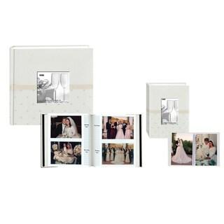 Pioneer Ivory Embroidered Polka Dot Fabric Frame Photo Album Set