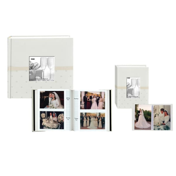 Pioneer Ivory Embroidered Polka Dot Fabric Frame Photo Album Set
