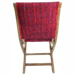 nuLOOM Handmade Bombay Red Sari Silk Folding Chair