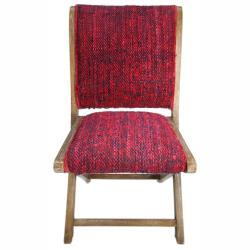 nuLOOM Handmade Bombay Red Sari Silk Folding Chair
