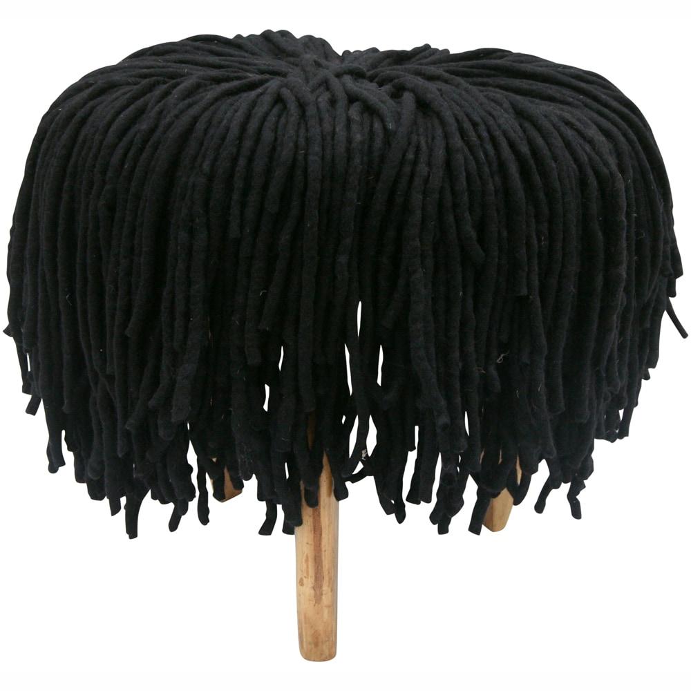 nuLOOM Handmade Casual Living Black Shag Pouf