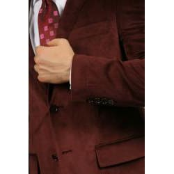 Ferrecci Men's Burgundy Velvet Jacket
