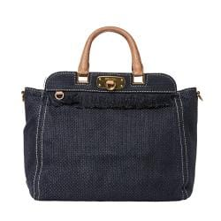 Prada Blue Woven Cotton Fringed Tote Bag