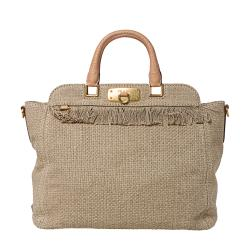 Prada Tan Woven Cotton Fringed Tote Bag