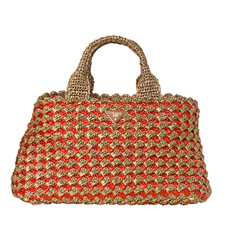 Prada Honey/ Orange Bi-Color Raffia Tote Bag - 14518395 ...