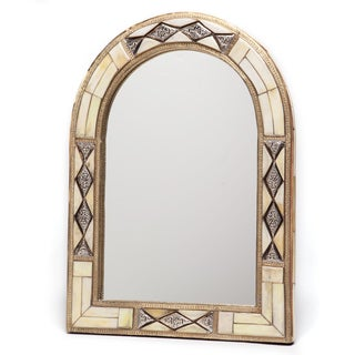 17-Inch x 13-Inch Hand-Carved Bone Moroccan Mirror (Morocco)