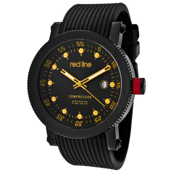 Red Line Men's 'Compressor' Black Textured Silicone Watch