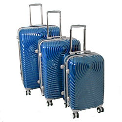 American Vertigo Blue 3-piece Lightweight Expandable Hardside Spinner Luggage Set With TSA Lock