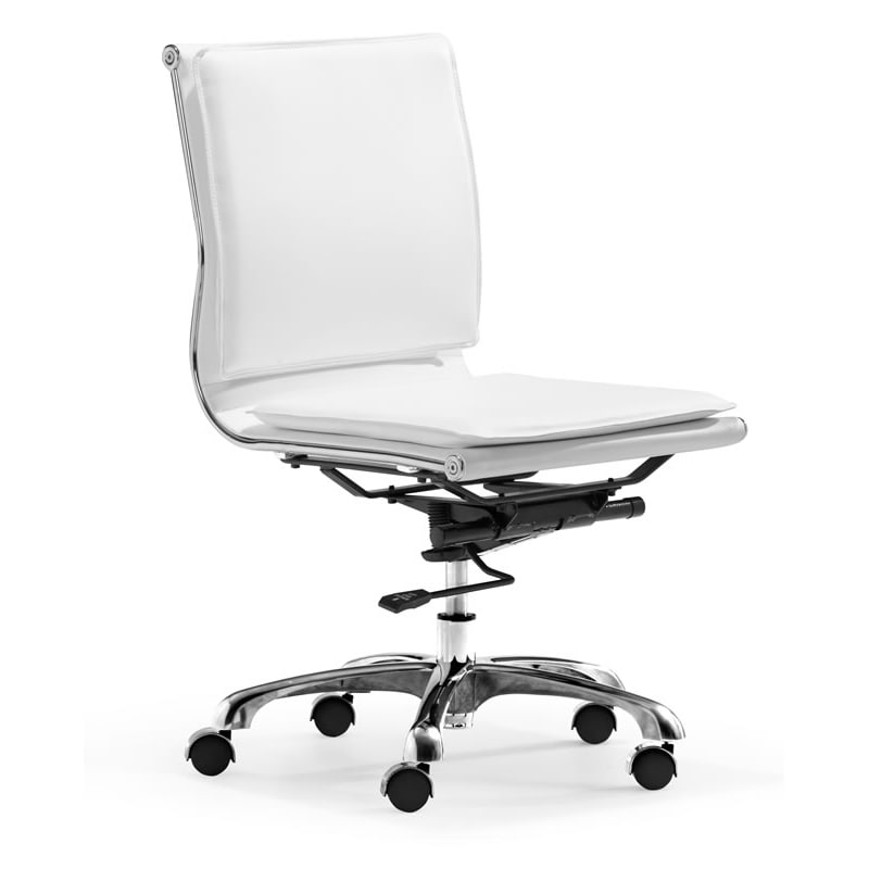 Lider Plus Armless White Office Chair Overstock Shopping