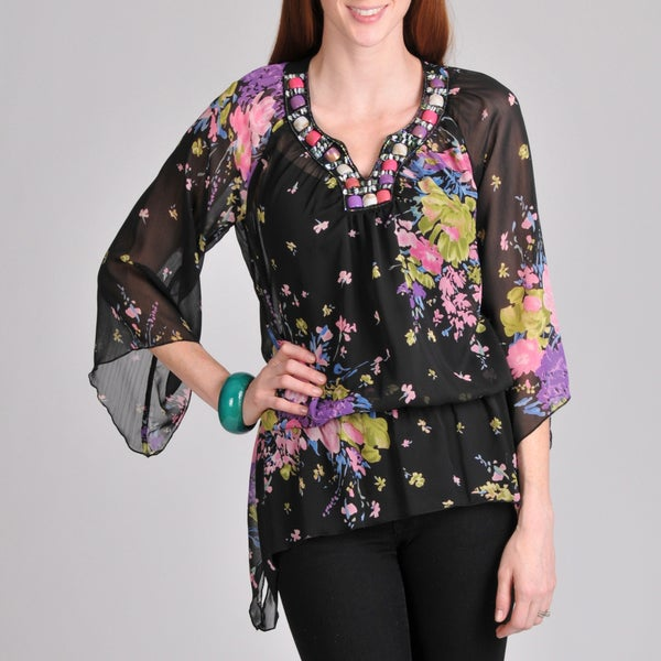 Sunny Leigh Women's Black Floral Embellished Blouse