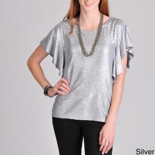 Sunny Leigh Women's Lurex Flutter Sleeve Top
