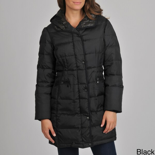 London Fog Women's Quilted Down Coat with Removable Hood