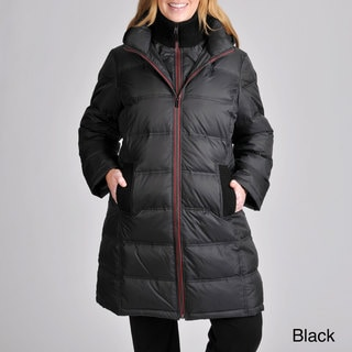 London Fog Women's Plus Zip-front Quilted Down Coat