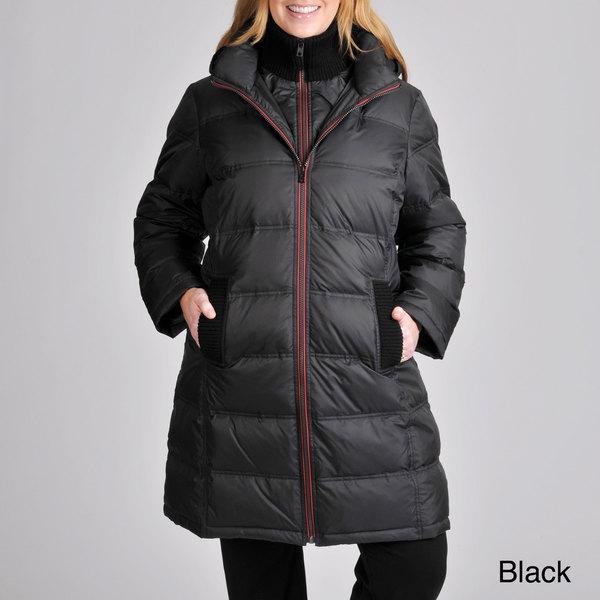 London Fog Women's Plus Zip-front Quilted Down Coat