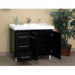 Black Wood 39-inch Single Sink Vanity with Left Side Drawers