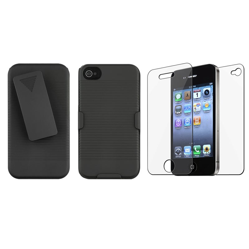 INSTEN Black Swivel Holster with Belt Clip and Stand for Apple iPhone 4/ 4S