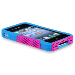 Blue/ Pink Hybrid Case/ Screen Protector for Apple iPhone 4/ 4S