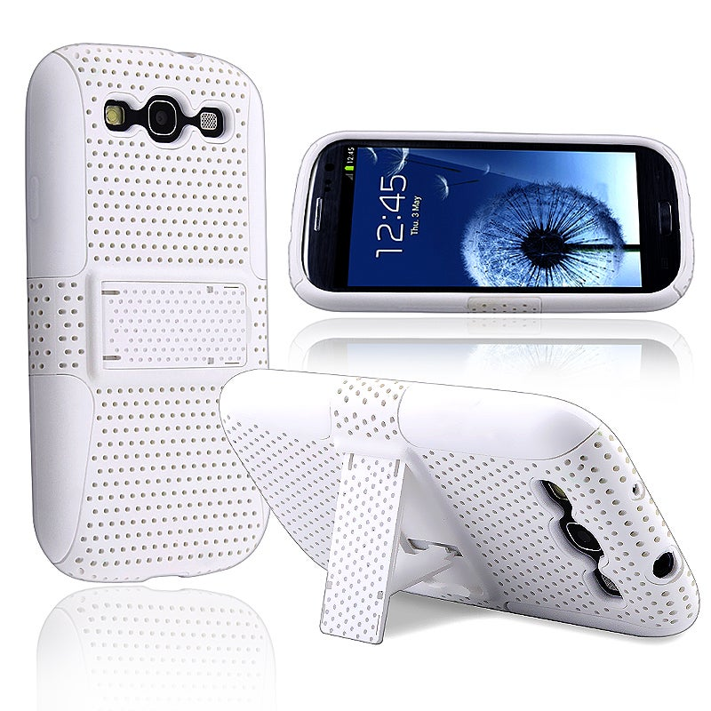 INSTEN White/ White Hybrid Phone Case Cover for Samsung Galaxy S III/ S3 i9300