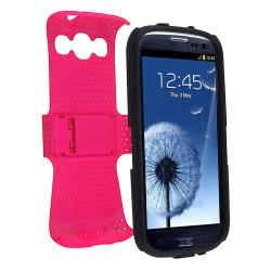 Black/ Hot Pink Hybrid Case for Samsung Galaxy S III/ S3 i9300