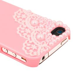 Pink with Lace and Pearl Snap-on Case for Apple iPhone 4/ 4S