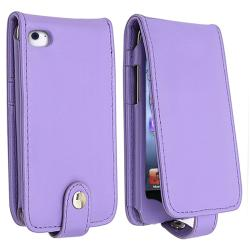 Purple Leather Case with Card Holder for Apple iPod Touch Generation 4