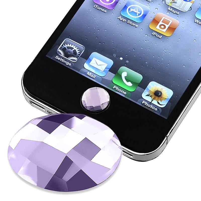 Purple Diamond Home Button Sticker for Apple iPhone/ iPad/ iPod