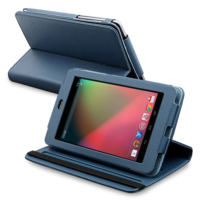 Navy-blue Synthetic-leather Protective Swivel Case for Google Nexus 7
