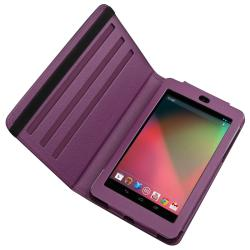 INSTEN Purple Leather Swivel Phone Case Cover for Google Nexus 7