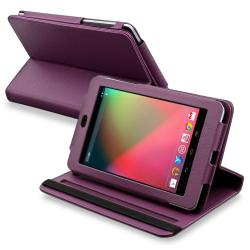 Purple Leather Swivel Case for Google Nexus 7