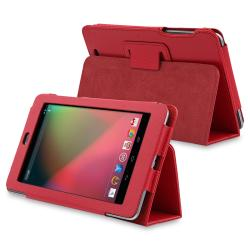 Red Leather Case with Stand for Google Nexus 7
