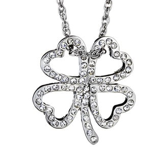 Silvertone Four Leaf Clover Crystal Pendant Necklace