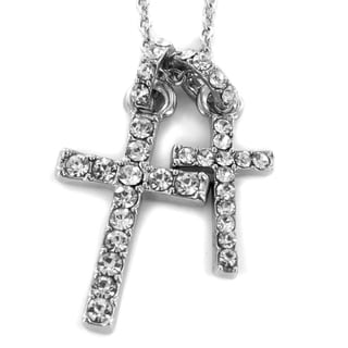 West Coast Jewelry Silvertone Crystal Double Cross Necklace