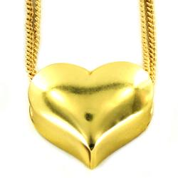 Goldtone Puffed Heart Double Strand Necklace
