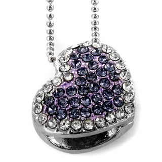 West Coast Jewelry Silvertone Purple Heart Crystal Necklace