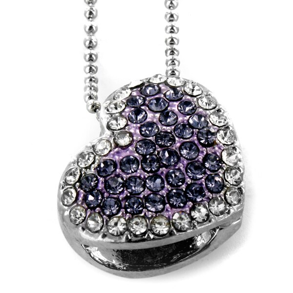 West Coast Jewelry Silvertone Purple Heart Crystal Necklace