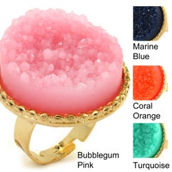 Goldtone Faux Druzy Round Cocktail Stretch Ring