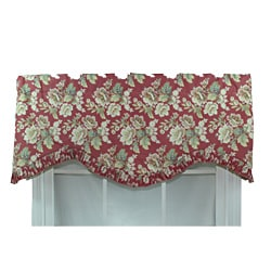 RLF Home Jazmine Red Ruffled Window Valance