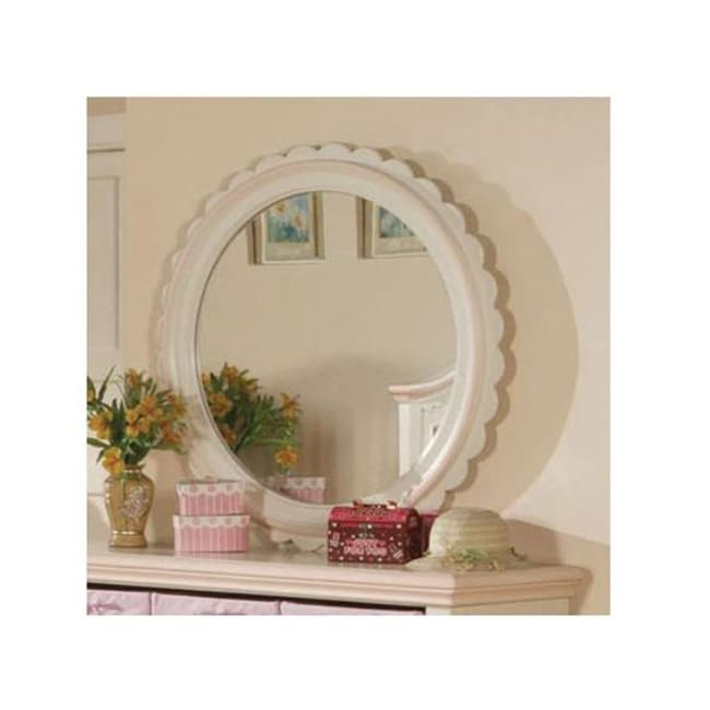 Crowley Cream/ Peach Finish Round Mirror