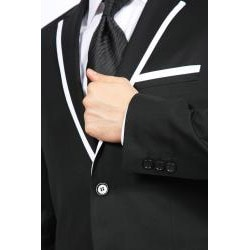 Ferrecci Men's Black with White Trim 2-button Slim-fit 2-piece Suit