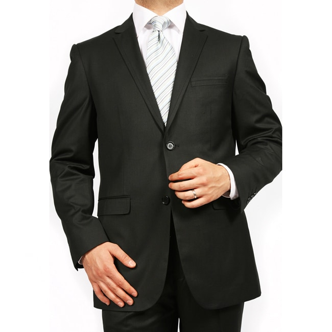 Ferrecci's Men's Black 2 Button Slim Suit