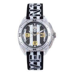 Juventus Men's Black and White Fabric/Leather Strap Dial Watch