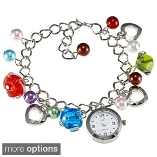 La Preciosa Silvertone Beads and Watch Charm Pandora-style Bracelet