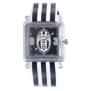 Juventus Men's Black Dial Striped Leather Strap Watch