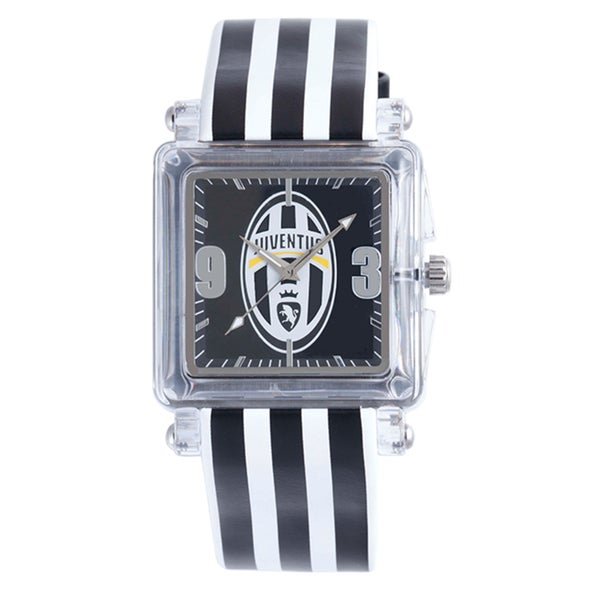 Juventus Men's Black Dial Striped Leather Strap Watch