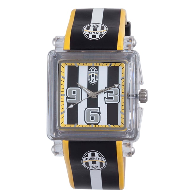 Juventus Men's Black and White Dial Leather Watch