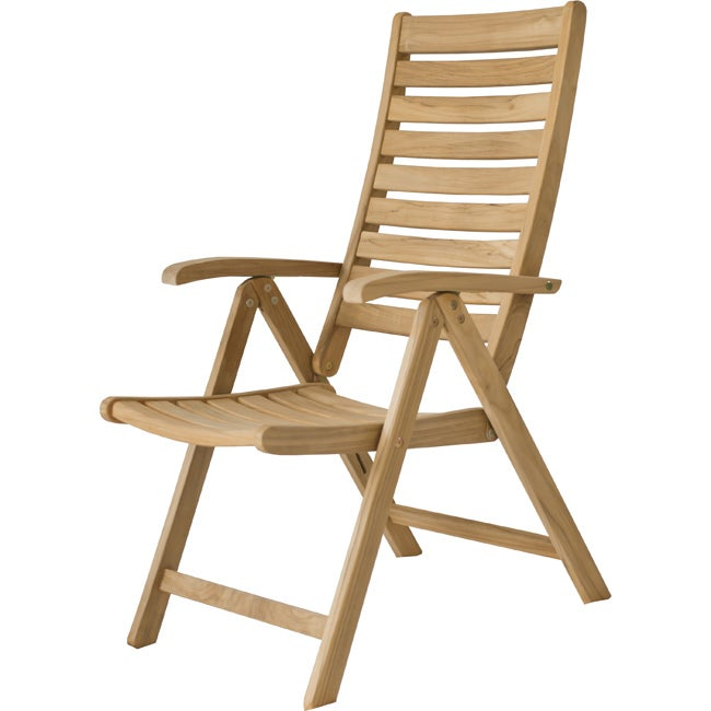 Reclining Natural Solid Teak Outdoor Dining Chair