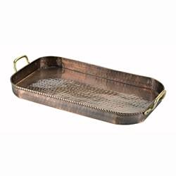 Old Dutch Oblong Cast Brass Handles Antique Copper Tray